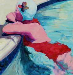Tracey Sylvester Harris, Swimmer, oil on canvas, x Skidmore Contemporary Art Figure Painting, Painting & Drawing, Summer Painting, Water Art, Klimt, Beach Art, Female Art, Illustration, Cool Art