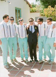 groomsman in mint pants #groomsstyle #weddingchicks http://www.weddingchicks.com/2013/12/20/mint-and-peach-wedding/