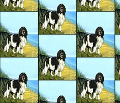 Landseer Newfoundland Beach Scene wallpaper by dogdaze  on Spoonflower -  custom fabric 4ec8e37538b7