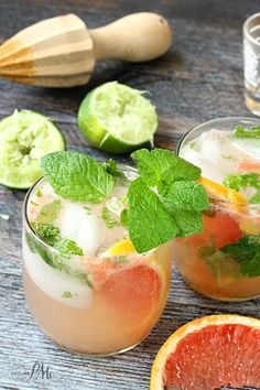 Champagne Grapefruit Mojito | The perfect mix of sweet and sour with a punch of rum. This minty and fruity cocktail recipe is a personal favorite. @pmctunejones
