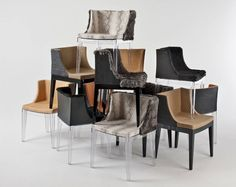 Lenny Kravitz's take on Philippe Starck's Mademoiselle chair for Kartell ... fur and exotic leathers, very rock and roll!