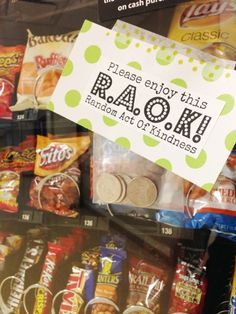 Sparkle: Random acts of kindness! Quarters on the vending machine in hospital waiting areas