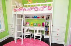 Space-saving loft bed idea with desk for girls' bedroom