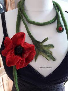 Mohnblüte, Mohnblumenkette, gefilzte Kette, Seide, Merinowolle Crochet Necklace, Jewelry, Fashion, Poppy, Hand Crafts, Felting, Wedding, Gowns, Nice Asses