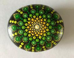 Mandala Stone Painted Rock Dot Art Purple by P4MirandaPitrone