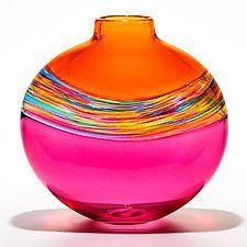 """Flat Transparent Banded Vortex Salmon Florida Cranberry by Michael Trimpol and Monique LaJeunesse (Art Glass Vase) (10.5"""" x 10.5"""")"""