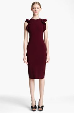 Fall power color- shades of red! Valentino Ruffle & Velvet Detail Knit Dress available at #Nordstrom