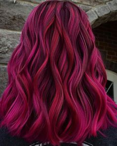 Had to post another angle of this one 😍 I used Superpower Direct Dyes Magenta Magic with pieces of Crimson Spell to make… Magenta Hair Colors, Hair Dye Colors, Hair Color Blue, Cool Hair Color, Red Pink Hair, Blonde Color, Crimson Hair, Bright Hair, Pretty Hairstyles