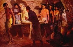 Women of the Bible | The Burial of Sarah, painting showing bier and interior of tomb