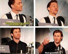 Oh my gosh Chris' s face. I don't love Loki more than Thor though. I love them both equally.--- sometimes I prefer Loki over Thor but I love em both Avengers Humor, The Avengers, Marvel Jokes, Marvel Funny, Loki Funny, Funny Tom, Hilarious, Marvel Dc, Marvel Actors