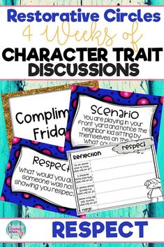 Conduct restorative circles in your classroom with these ready to use templates that are full of questions, discussion topics and ideas that can be used during circle time. This product stems around the character trait of respect and includes discussion questions, scenarios and/or act it out activities. Click the link below to have your students listening, discussing and learning from each other! #restorativecircles #charactertraits #circletime  #charactereducation #classroomcommunity #respect