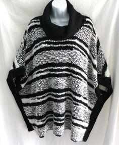 Calvin Klein Eyelash Striped Batwing Poncho Style Cowl Neck Sweater Size S/M #CalvinKlein #PonchoCowlNeck #Casual