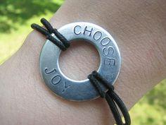 Hand Stamped Choose Joy Bracelet via Etsy