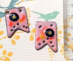 torch fired enamel copper charms with murrini detail