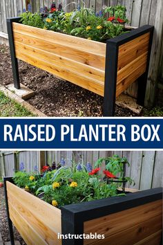 Build a simple raised planter box to hold your favorite flowers. Great for backy. - Build a simple raised planter box to hold your favorite flowers. Great for backyards and patios. Source by - Raised Planter Boxes, Garden Planter Boxes, Box Garden, Building Garden Boxes, Diy Raised Garden Beds, Garden Box Plans, Diy Wood Planter Box, Planter Box Designs, Planter Box Plans