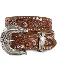 Tony Lama Native Vine Tooled Leather Belt - Sheplers