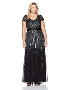 820c9730085 online shopping for Adrianna Papell Women s Plus-Size Long Cap-Sleeve Gown  from top store. See new offer for Adrianna Papell Women s Plus-Size Long ...