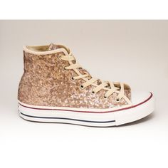 Tiny Sequin Starlight Champagne Gold Canvas Converse Canvas Hi Top... ($135) ❤ liked on Polyvore featuring shoes, sneakers, black, hi tops, sneakers & athletic shoes, women's shoes, black high tops, high top tennis shoes, black shoes and gold sequin sneakers