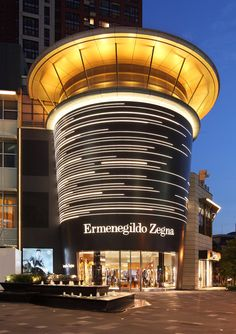 Ermenegildo Zegna. Shenzen China. Architectural Lighting Design, Landscape Lighting Design, Facade Lighting, Exterior Lighting, Building Exterior, Building Design, Arch Light, Retail Facade, Luxury Store