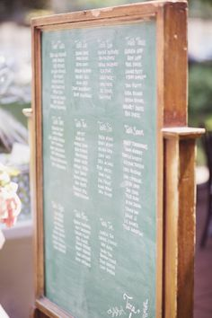 Seating chart - in lieu of name tags. http://stylemepretty.com/2013/08/27/vancouver-wedding-from-lucida-photography-filosophi-events/