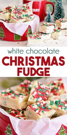 Quick and easy White Chocolate Christmas Fudge combines the flavors of sugar cookies and white chocolate in a delicious fudge recipe. Delicious Fudge Recipe, Fudge Recipes, Candy Recipes, Dessert Recipes, Dessert Ideas, Delicious Chocolate, Drink Recipes, Christmas Fudge, Christmas Desserts Easy
