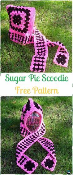 CrochetSugar Pie Scoodie Free Pattern - Crochet Hoodie Scarf Free Patterns
