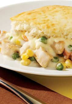 VELVEETA Cheesy Chicken Pot Pie Casserole -- This casserole recipe serves four--deliciously--with just 30 minutes of prep time. Could it be your family's new favorite dish?
