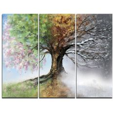 Tree with Four Seasons - 3 Piece Graphic Art on Wrapped Canvas Set