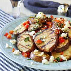 Warm Grilled Potato Salad with Lemon and Oregano - what side dishes to serve is often a more difficult decision than what to grill for dinner but here's a tasty, healthy and easy answer.