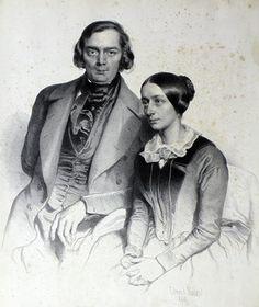 Das Musiker- und Komponistenpaar Robert (1810-1856) und Clara Schumann (1819-1896). Diese Lithografie stammt aus dem Jahr 1847.