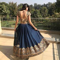 "146 Likes, 21 Comments - Swetta Nanda (@swettananda) on Instagram: ""@swettananda The beautiful swirl Gorgeous blue lehnga"""
