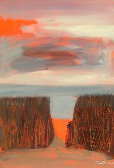 """Joanna Golon """"Wicie - sunset 2015"""", acrylic on canvas 20x40"""