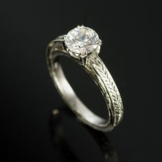 Hand engraved solitaire engagement ring #justlikeyoudesigns