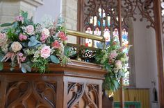 Church Pulpit Arrangement With Soft Pinks And Creams http://www.rusticrose.co.uk/