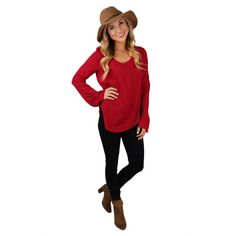 This is the perfect little red top for day or night! We love the bell sleeves and boho fit!