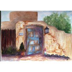 """""""Adobe Wall"""" • 9 x 12 Watercolor/Mixed Media"""