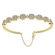 14k Yellow Gold Demure Style  Bangle Diamond