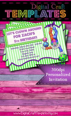Personalized Printable Invitations | Circus Party | Green Clown | Birthday Party |  #68