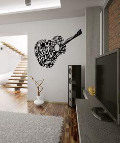 Vinyl Wall Decal Sticker Music Note Guitar OSMB918m