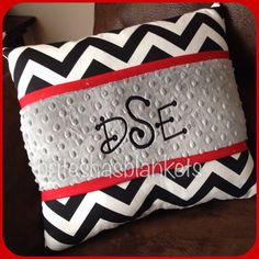 Black chevron red trim and grey minky dot pillow