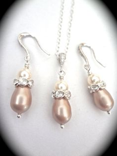 Bridal jewelry  Pearl necklace and earring by QueenMeJewelryLLC, $59.99