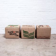 The Upcycle Ottoman is upholstered using a supply of surplus jute bags previously used to transport organic coffee beans. The durable bags, which would otherwis Burlap Coffee Bags, Coffee Bean Bags, Coffee Sacks, Organic Coffee Beans, Fresh Coffee Beans, Modern Ottoman, Home Furnishing Stores, Café Bar, Coffee Uses
