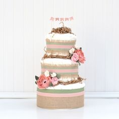 Floral Baby Shower Diaper Cake, Baby Girl Diaper Cake Oh Baby, Peony Baby Shower, Burlap Shabby Chic Decoration Mini Diaper Cakes, Diaper Cake Boy, Unique Baby Girl Gifts, Baby Gifts, Pamper Cake, Baby Bouquet, Baby Shower Diapers, Floral Baby Shower, Baby Shower Centerpieces