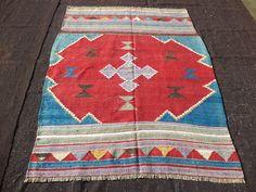 "Blue,Red Turkish Kilim Rug,5""x6,3"" Feet 152x190 Cm Rare Pattern Old Handwoven turkish Area Kilim Rug, Anatolia Kilim Rug."