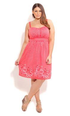 City Chic BURNOUT FLORAL DRESS- Women's Plus Size Fashion