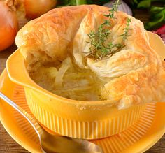 With puff pastry.. French Onion Soup Recipe from Grandmothers Kitchen.