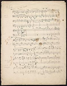 Schumann, Robert, 1810-1856. Carnaval (Sketches) . Carnaval, op. 9 (draft), and Albumblätter, op. 124, no. 4 (draft) : autograph manuscript, 1834 Dec. 13.