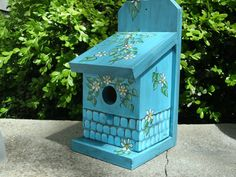 Unique Painted Bird Houses | Pool Blue Bird House - Handmade & Hand Painted