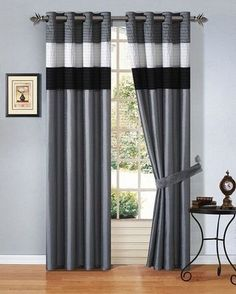 Black and Grey Living Room Curtains. 20 Black and Grey Living Room Curtains. Curtains Living Room by Clare Ruhweza On Curtains Black And Grey Curtains, Black And White Living Room, Purple Curtains, Black White, Striped Curtains, Home Curtains, Curtains With Blinds, Window Curtains, Home Organization