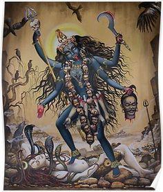 Medium: acrylic on canvas Size: cm Status: For Museum of Sacred Art, Belgium Description: Kali is Goddess is one of 10 Mahavidyas. Kali is a destroye. Kali Mata, Kali Tattoo, Kali Goddess, Indian Goddess, Saraswati Goddess, Kali Hindu, Hindu Art, Mother Kali, Divine Mother